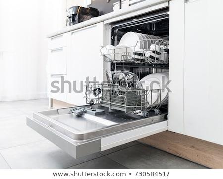 Stok fotoğraf: Bulaşık · makinesi · mutfak · temizlemek · bulaşık · mavi · ışık
