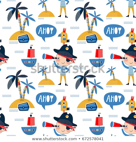 colored Pirates pattern. Hand drawn Stock photo © netkov1