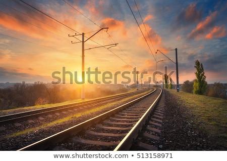 Pôr do sol ferrovia seguir abandonado natureza nuvem Foto stock © CaptureLight