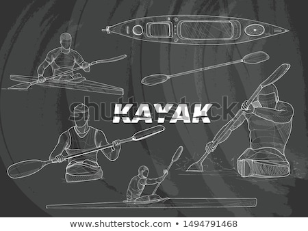 kayak with man icon drawn in chalk stock photo © rastudio