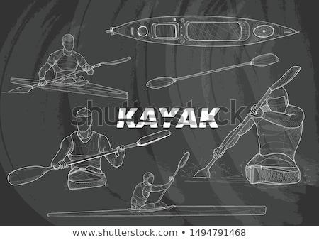 Stockfoto: Kajak · man · icon · krijt