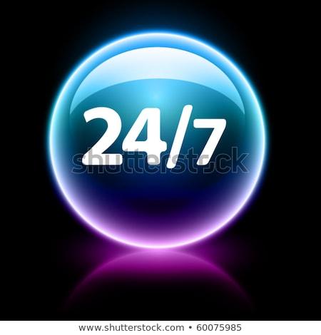 24 Hours Open Purple Vector Icon Button Stock photo © rizwanali3d