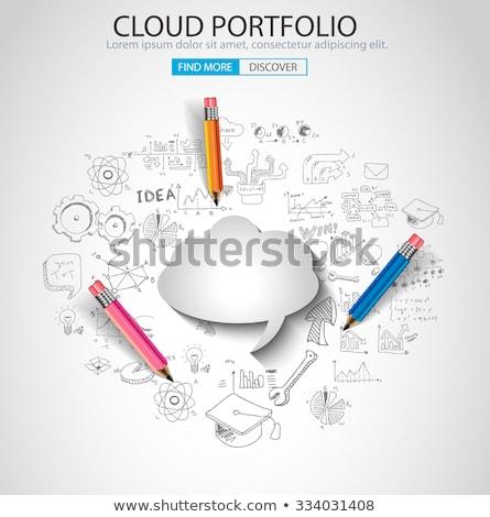 schets · doodle · speech · cloud · illustratie · ingesteld · teken - stockfoto © davidarts