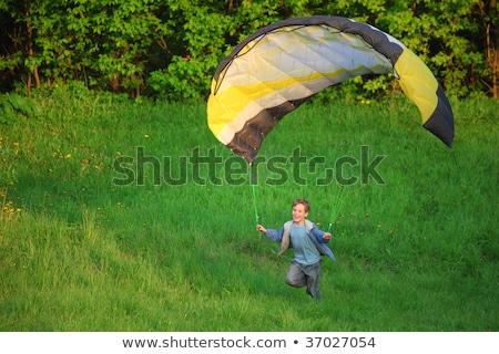 мальчика парашютом землю улыбка образование пространстве Сток-фото © Paha_L