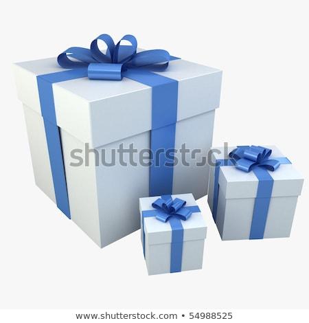 Stockfoto: Foto · realistisch · geschenkdoos · 3D · Blauw
