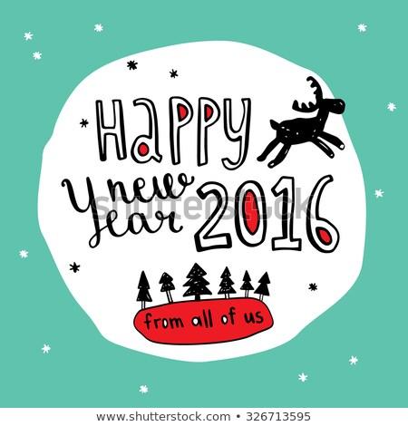 Stok fotoğraf: 2016 · happy · new · year · siyah · kar · sanat · dizayn