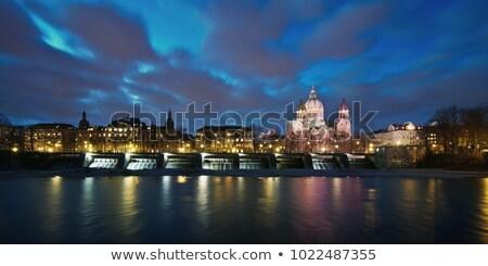 Kilise Münih gece Bina ışıklar Stok fotoğraf © manfredxy
