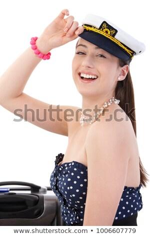Zdjęcia stock: Młodych · atrakcyjny · marynarz · kobieta · uśmiecha · walizkę