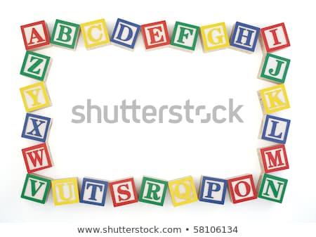 水平な 木製 フレーム アルファベット ブロック ストックフォト © 3mc