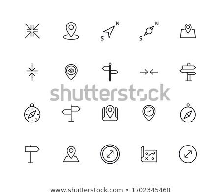 Iránytű navigáció ikon rózsa világ kék Stock fotó © djdarkflower