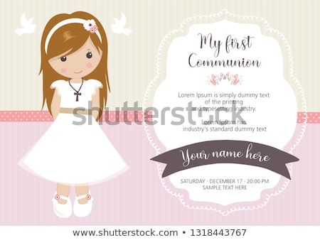 Első szent úrvacsora meghívó lány színes Stock fotó © marimorena