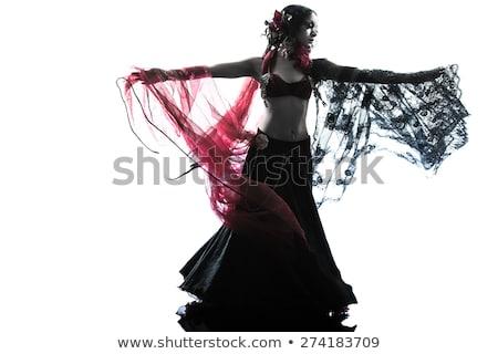 Távolkeleti táncos nő portré gyönyörű egyiptomi smink Stock fotó © Studiotrebuchet