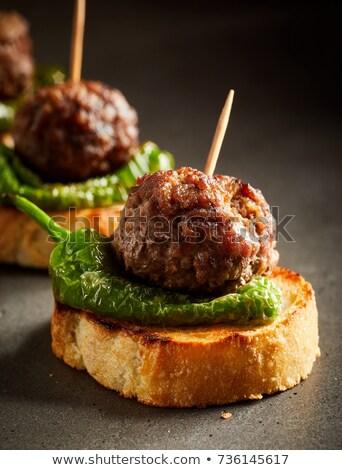 Előétel koktél bot étel kenyér marhahús Stock fotó © Digifoodstock