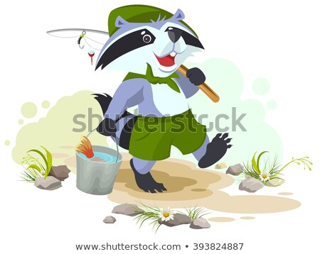 scout goes fishing raccoon scout carries bucket of fish fisherman with fishing rod stock photo © orensila