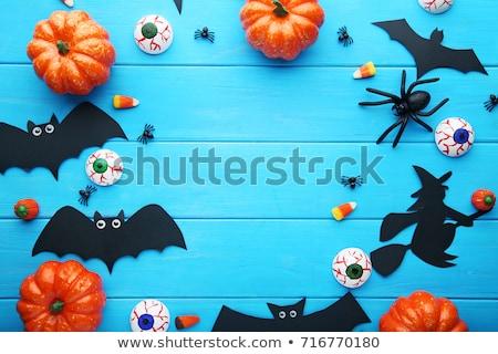 halloween · kézzel · készített · sütőtök · pók · vicces · kötött - stock fotó © xuanhuongho