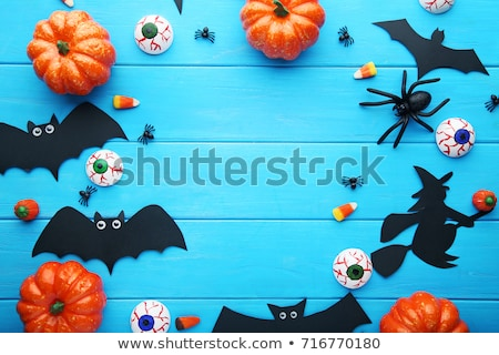 Halloween handgemaakt pompoen spin grappig gebreid Stockfoto © xuanhuongho