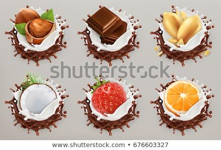 Stock fotó: Tej · csokoládé · mogyoró · fából · készült · étel · fa