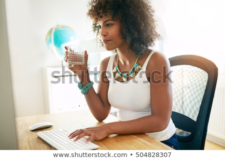 Stock fotó: Businesswoman Drinking Water