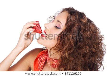 женщину · еды · клубника · профиль · портрет - Сток-фото © Anna_Om