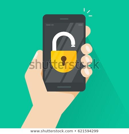 Téléphone lock sécurisé cellule puce téléphone portable Photo stock © fenton