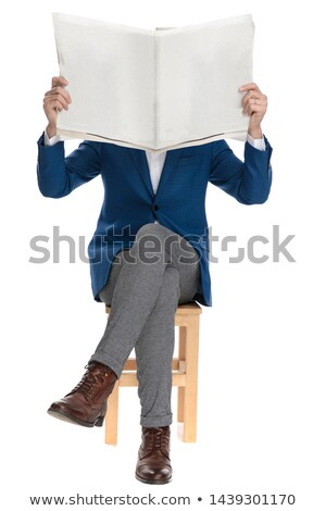 Smiling handsome guy covering his face with hands Stock photo © deandrobot