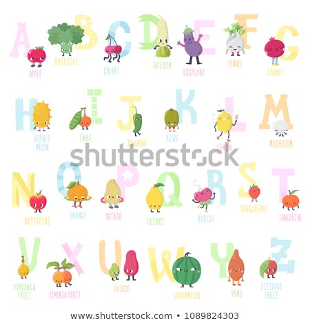Cute vector vegetarian alphabet with fruits and vegetables Stock photo © natalya_zimina