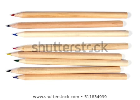 Row of natural wood colored pencil crayons Stock photo © ozgur