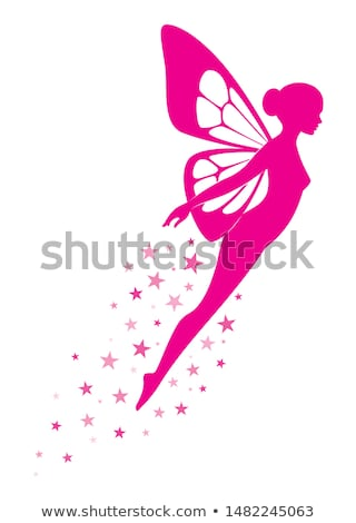 Sziluett gyönyörű fiatal nő angyalszárnyak meztelen kezek Stock fotó © konradbak