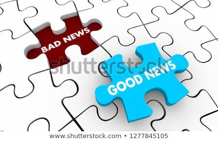 Quebra-cabeça palavra uma boa notícia peças do puzzle construção notícia Foto stock © fuzzbones0