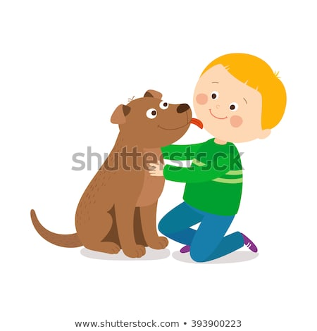 Dog licking boy on face Stock photo © bluering