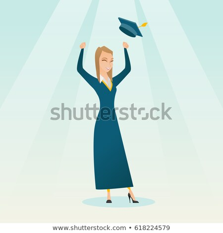 Graduate throwing up her hat vector illustration. Stock photo © RAStudio
