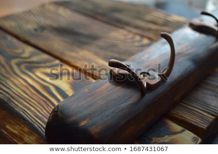 Old retro brushes hang decoratively on wooden wall Stock photo © Klinker