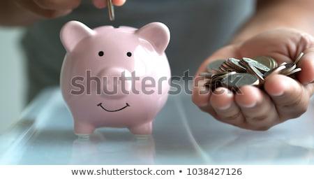 senior woman hand putting money to piggy bank Stock photo © dolgachov