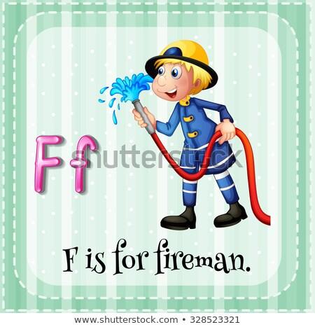 Letra f bombeiro ilustração crianças trabalhar criança Foto stock © bluering