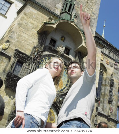 couple in Prague, Horloge, Old Town Hall, Czech Republic Stock photo © phbcz
