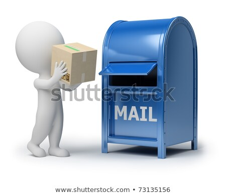 Stock photo: 3d small people   mailing a package