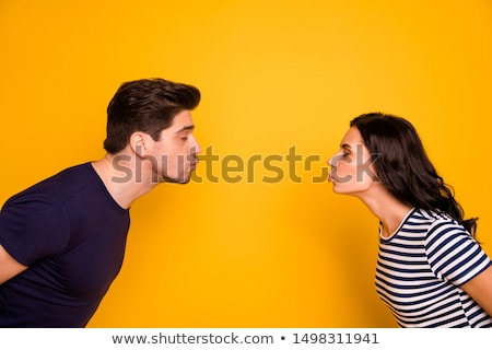 Stock fotó: Portrait Of Handsome Couple Gently Kissing