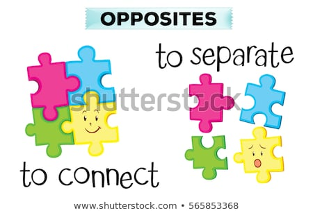 Opposite wordcard with connect and separate Stock photo © bluering
