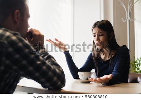 Gyönyörű fiatal nő férfi tárgyal kávézó modern Stock fotó © vlad_star