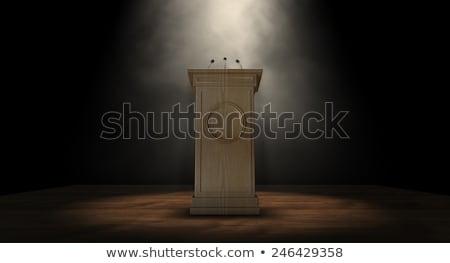 naciśnij · podium · mowy · trzy · mały - zdjęcia stock © albund