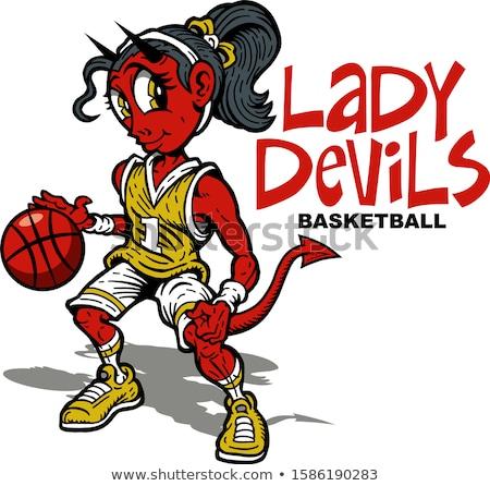 şeytan basketbol spor maskot Stok fotoğraf © Krisdog