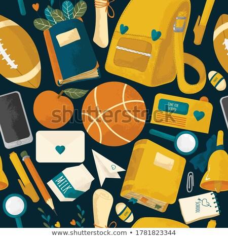 renkli · okula · geri · eğitim · karikatür · Bina · okul · otobüsü - stok fotoğraf © sonya_illustrations