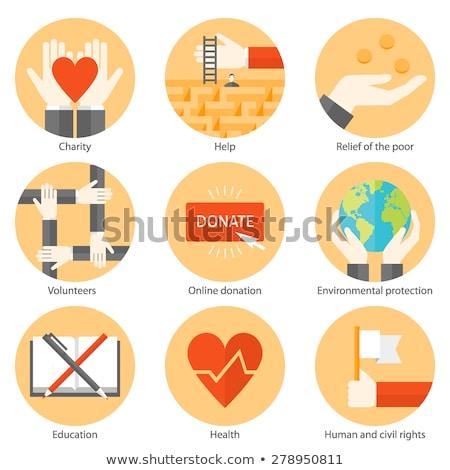 heart charity flat icon stock photo © ahasoft