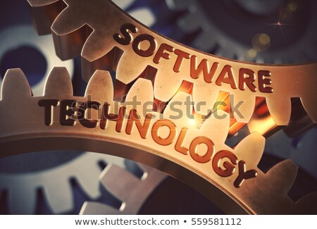 software optimization on the golden gears 3d illustration foto stock © tashatuvango