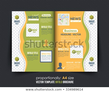 green geometric bi fold business brochure design template stock photo © sarts