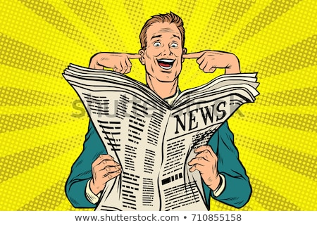 Businessman reads the press and covering her ears Stock photo © studiostoks