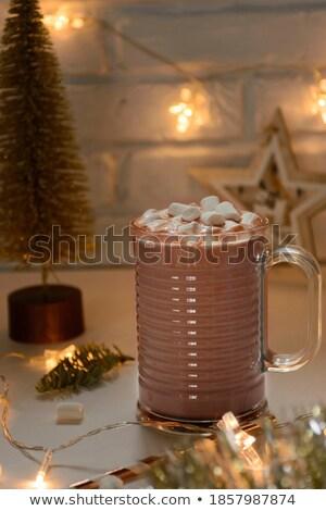fincan · kahve · sıcak · Noel · ışıklar · tablo - stok fotoğraf © stephaniefrey