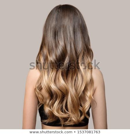 вид сзади женщину длинные волосы молодые тонкий Сток-фото © deandrobot