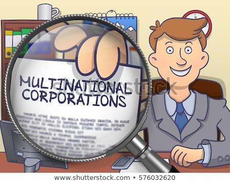 Economisch samenwerking vergrootglas doodle vergrootglas zakenman Stockfoto © tashatuvango