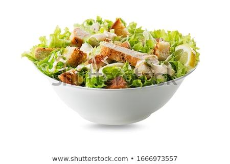 Salada de frango parmesão cubinhos de pão torrado tabela queijo jantar Foto stock © M-studio